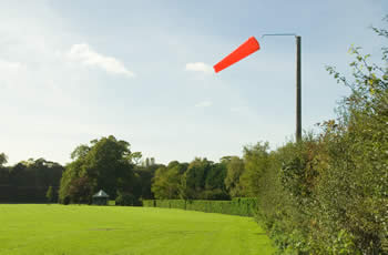 Photo of windsock for helicopter landings at Park Farm Business Centre